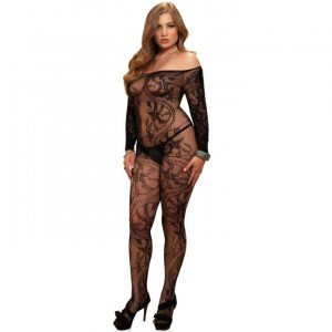 Bodystocking nero ricamato Queen Size - Leg Avenue