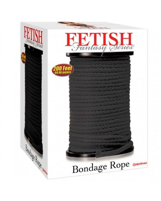 Corda bondage nera di seta 60,96m - Fetish Fantasy