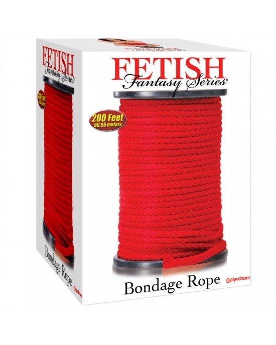 Corda bondage rossa di seta 60,96m - Fetish Fantasy