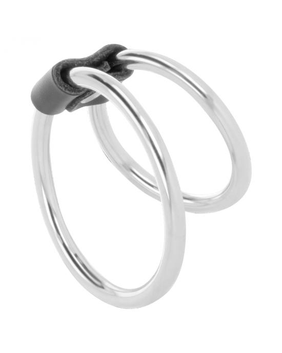 Doppio anello in metallo per il pene - Darkness