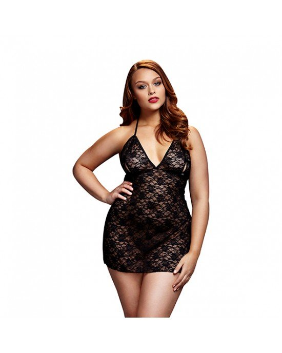 Babydoll Lace nero Queen Size - Baci Lingerie