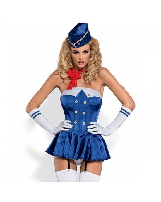 Costume Stewardess Corset L/XL - Obsessive
