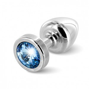 Plug anale argento/azzurro con Swarovski - Diogol