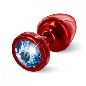 Plug anale rosso/azzurro con Swarovski - Diogol