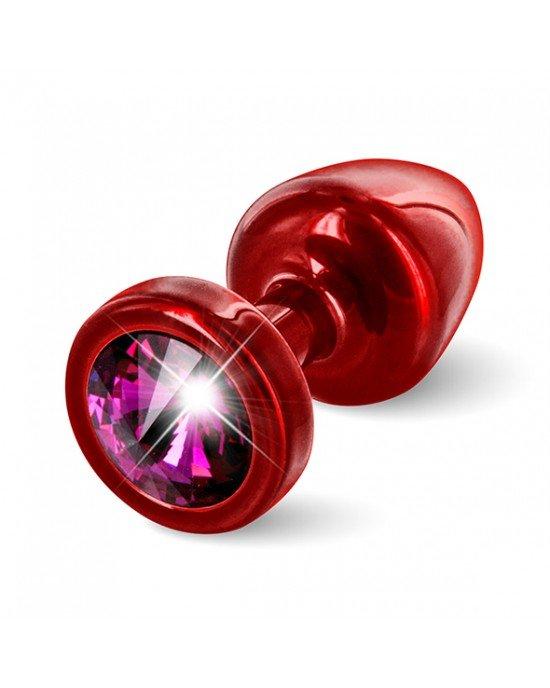 Plug anale rosso/viola con Swarovski - Diogol