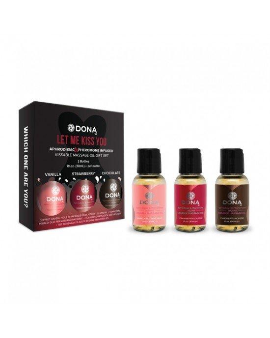 Set regalo olii massaggio Kissable 3x30ml - Dona