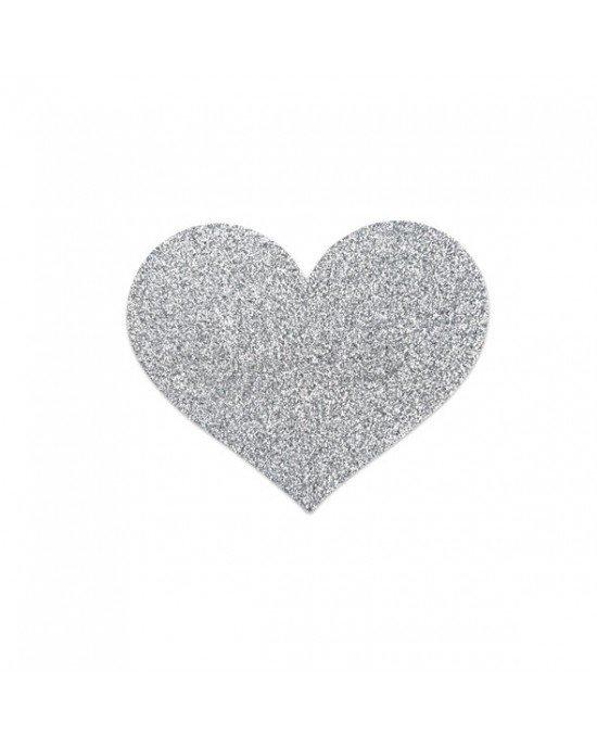 Copricapezzoli argentati a cuore - Bijoux Indiscrets