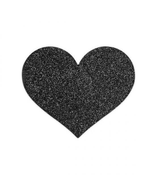Copricapezzoli neri a cuore - Bijoux Indiscrets