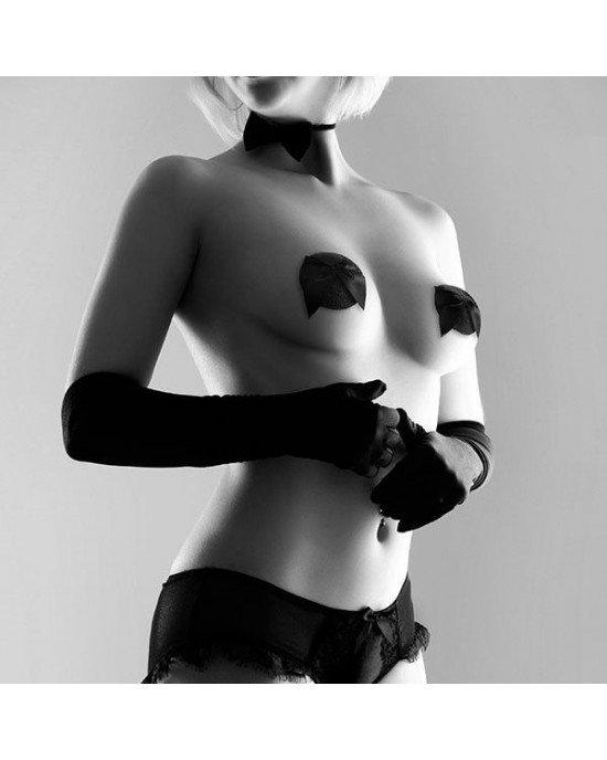 Copricapezzoli neri con fiocco - Bijoux Indiscrets
