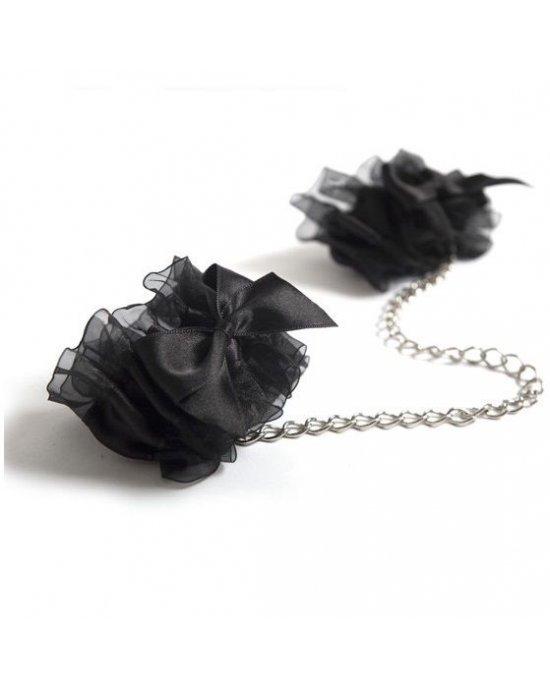 Manette nere in organza e raso - Bijoux Indiscrets