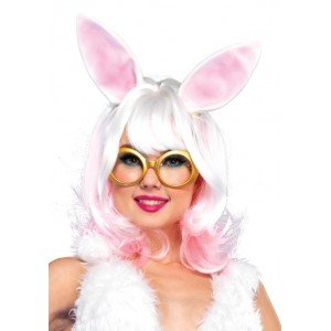 Parrucca bianca/rosa caschetto orecchie - Leg Avenue