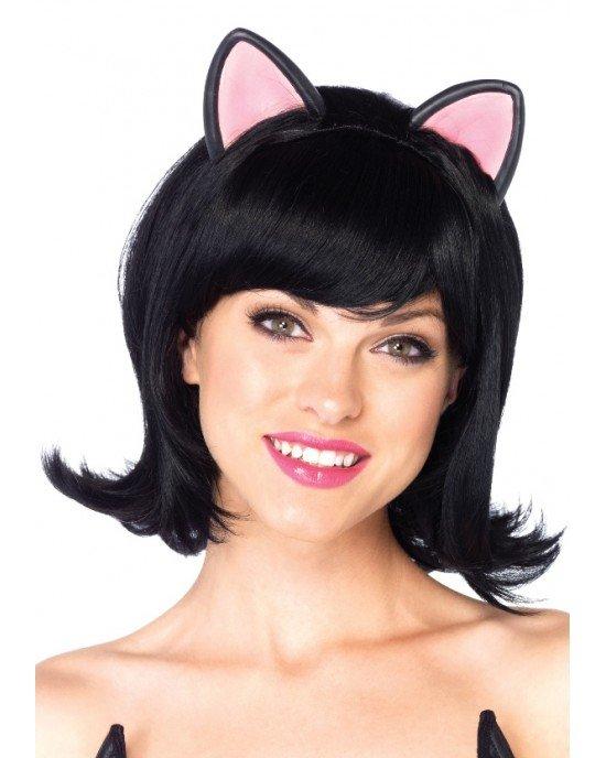 Parrucca nera caschetto gatto - Leg Avenue