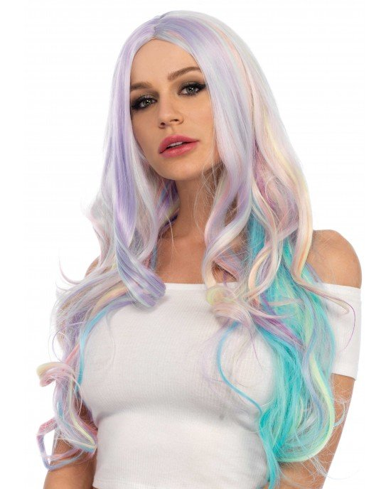 Parrucca Pastel Rainbow ondulata - Leg Avenue