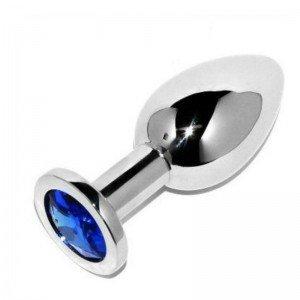 Plug anale argento/azzurro - Metalhard