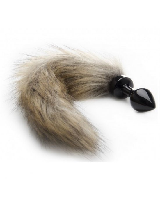Plug anale Fox Tale beige/nero 7,5cm - Ouch