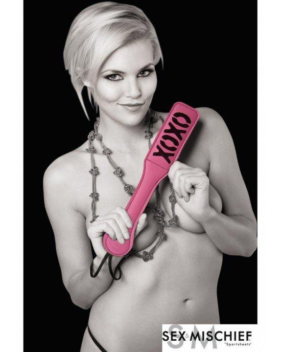 Sculacciatore XOXO rosa nero - Sex and Mischief