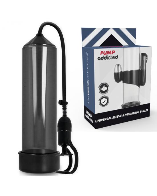 Pompa erezione RX5 nera con vibratore - Pump Addicted
