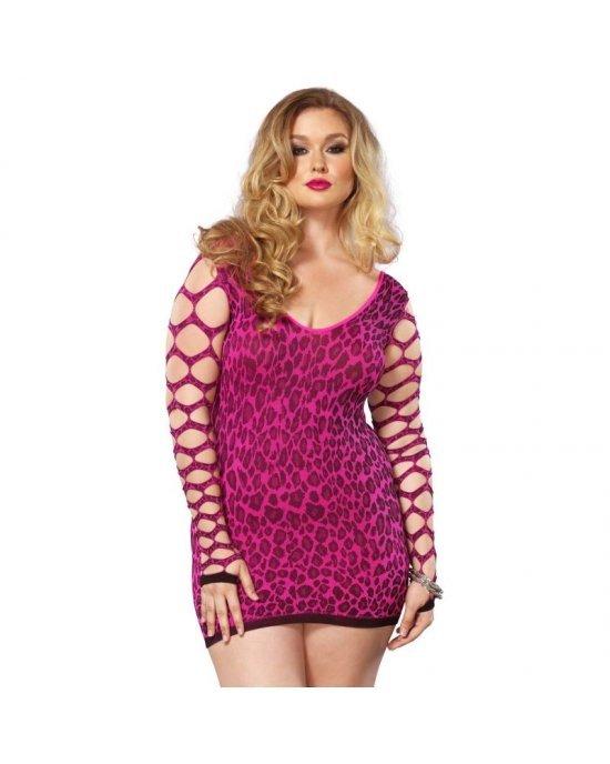 Leg Avenue - Vestito manica lunga leopardato ROSA  PLUS SIZE