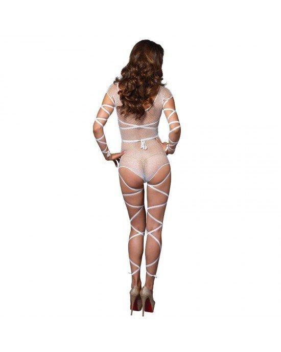 Leg Avenue - Body intero a rete bianco con tiranti Taglia Unica